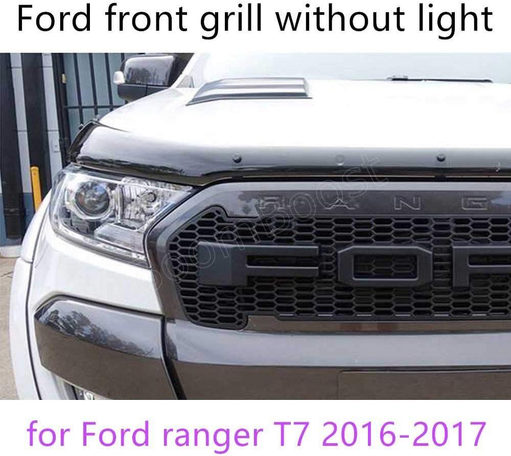 QQKLP pour Ford Ranger T7 2016-2017 ABS Grille Contours LED Grille Garniture avec la lumi/ère 4 Couleurs Disponibles de Haute qualit/é