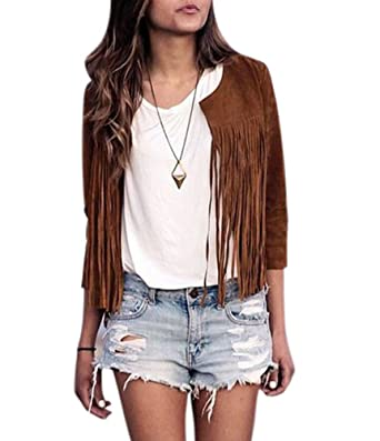 Amazon.com: Creabygirls Womens Faux Suede Fringe Jacket Outwear ...