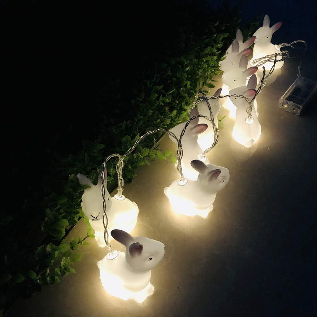 Mehrfarbig Ostern Lichterkette,FeiliandaJJ 10LED 1.5M Ostern Kaninchen LED Lichterkette Batterie String Lights Kinderzimmer Schaufenster Party Dekoration Anh/änger Party