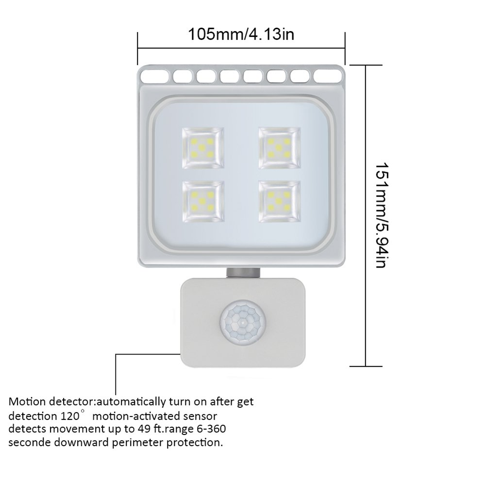 20W Blanco Frío Foco LED Sensor Movimiento Reflector Impermeable SMD IP67 Lámpara PIR Seguridad Lámpara LED 220V LED Exterior (20W*10): Amazon.es: ...
