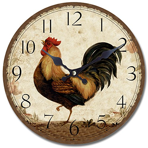 Yosemite Home Decor Circular Wooden Wall Clock, Rooster Print