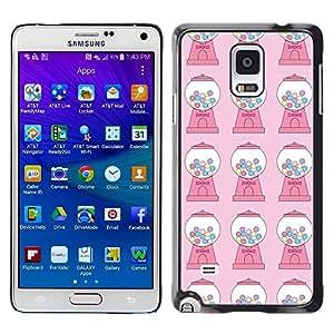 FECELL CITY // Duro Aluminio Pegatina PC Caso decorativo Funda Carcasa de Protección para Samsung Galaxy Note 4 SM-N910 // Candy Bubble Gum Machine Pink Pattern