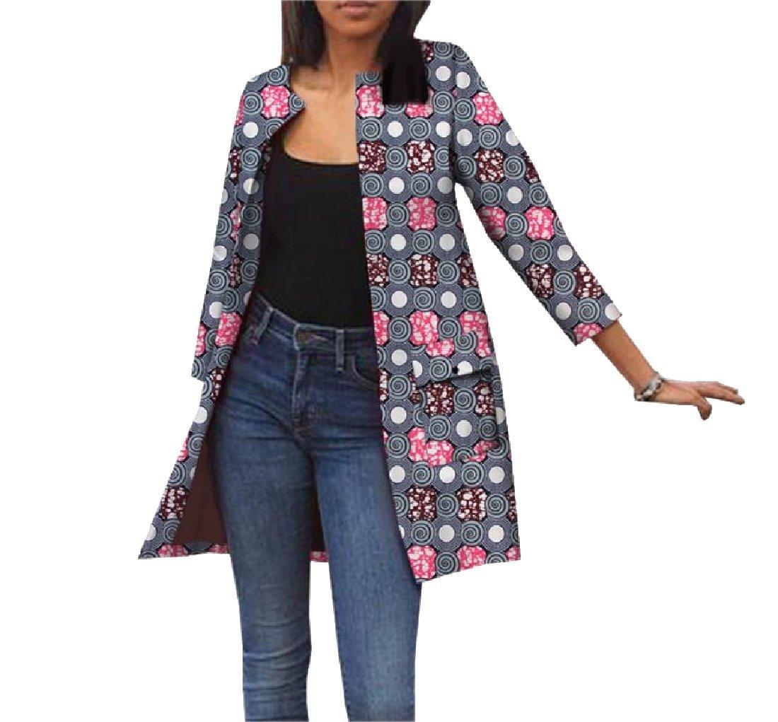 cheelot Women's Autumn Dashiki Cardigan Africa Jacket Classic Trench Coat 9 XS