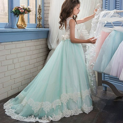 Banfvting Long Cape Detachable Train Girls Prom Dress Party Gown With Handmade Flowers by Banfvting (Image #3)