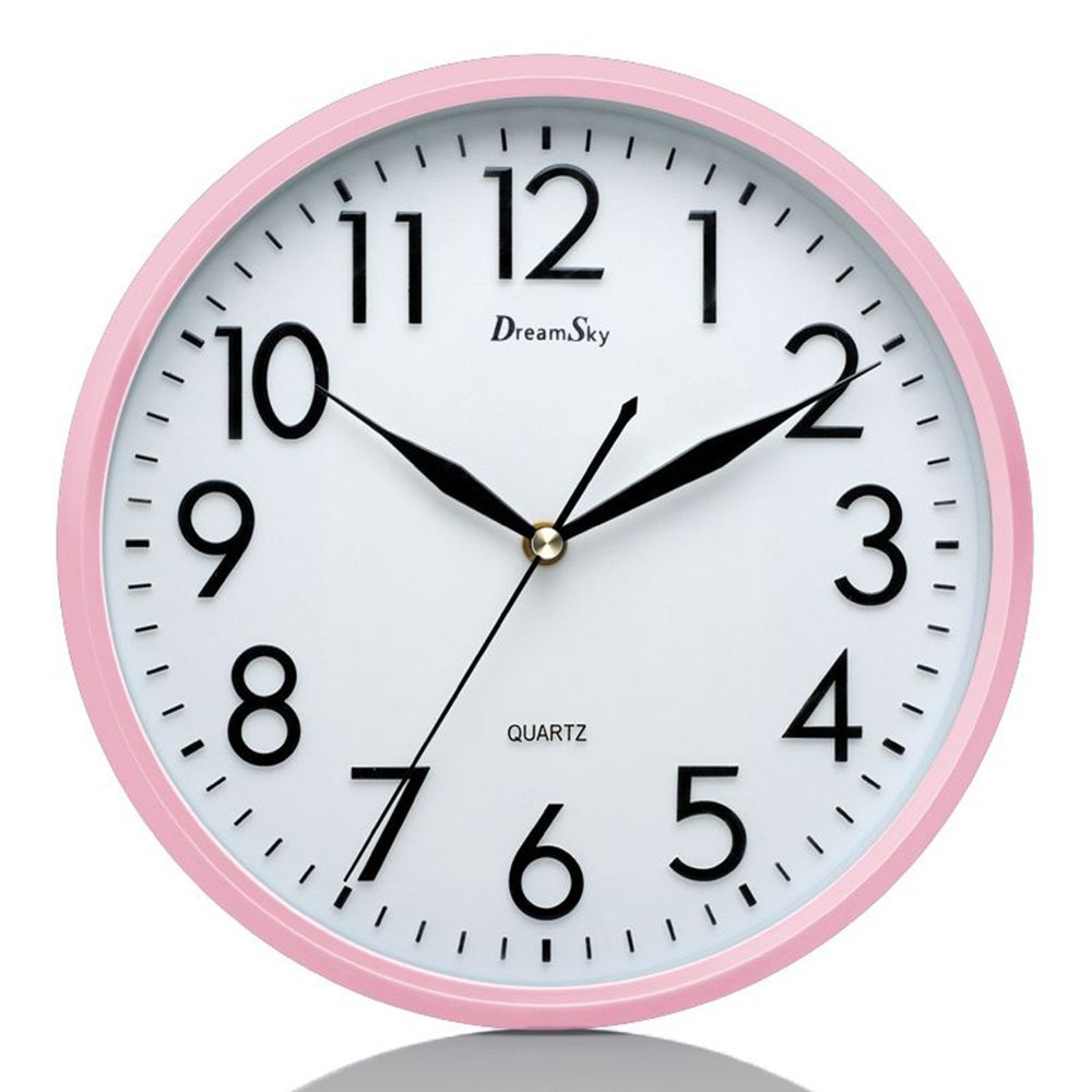 DreamSky 10'' Silent Wall Clock, Battery Operated, Non-Ticking, Decorative Indoor/Kitchen Round Clock,3D Numbers Display. Nice Pink Quiet Wall Clock For Kids/Girls/ Nursery Room