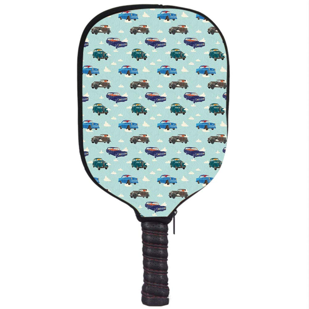 Neoprene Pickleball Paddle Racket Cover Case,Cars,Absurd Design with Vintage Cars in The Air with Clouds Old Vehicles Pattern,Pale Blue Teal Umber,Fit for ...