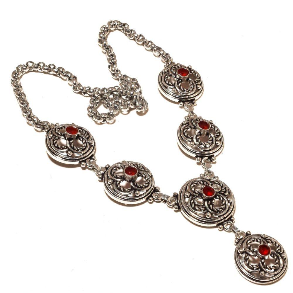 Awesome Red Garnet Quartz Silver Overlay 51 Gram Necklace 17-18