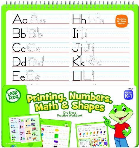 Number Printing (LeapFrog Printing, Numbers, Math and Shapes Dry Erase Practice Workbook for Grades K-1 with Washable Dry Erase Marker (19438) )