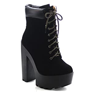 Chase & Chloe Empire-4 Women's Lace Up High Platform Chunky Heel Ankle Booties (8.5)