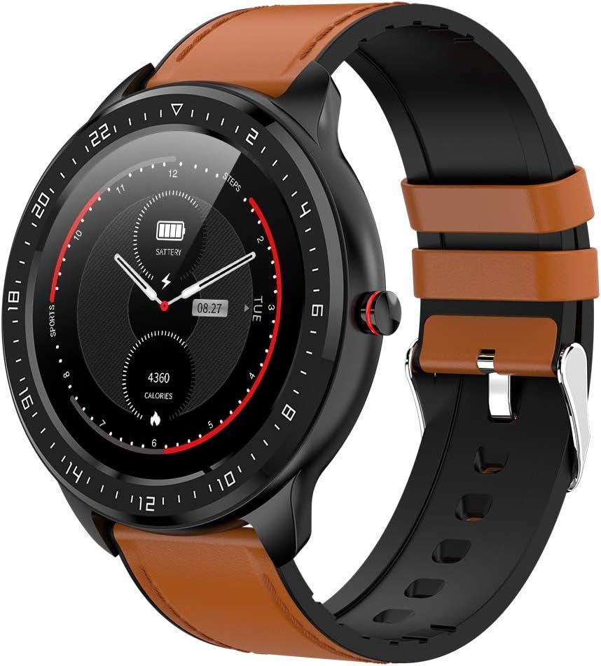 DCU TECNOLOGIC   Smartwatch   Reloj Inteligente   Full Touch Pantalla táctil   Control Remoto   Notificación de APPS y Llamadas   con 2 Correas Piel marrón y Silicona Negra