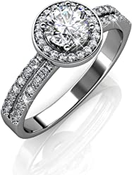 a5eac5b8c Cate & Chloe Madelyn 18k White Gold Plated Ring with Swarovski Crystals,  Engagement Promise Ring