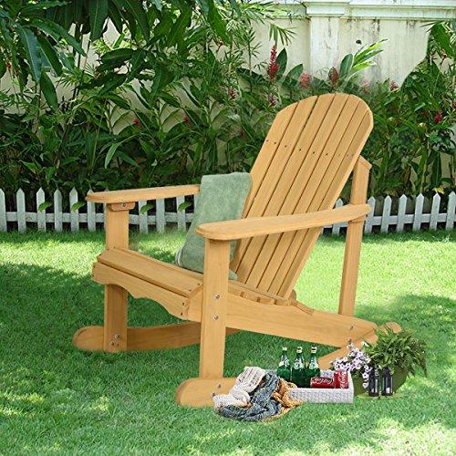 Outdoor Natural Fir Wood Adirondack Rocking Chair Patio Deck Garden Furniture by Apontus