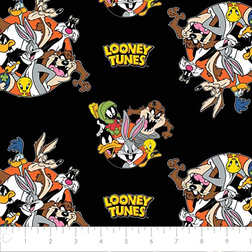 Looney Tunes That's All Folks! in Black from Camelot 100% Premium Quality Cotton Fabric by The -