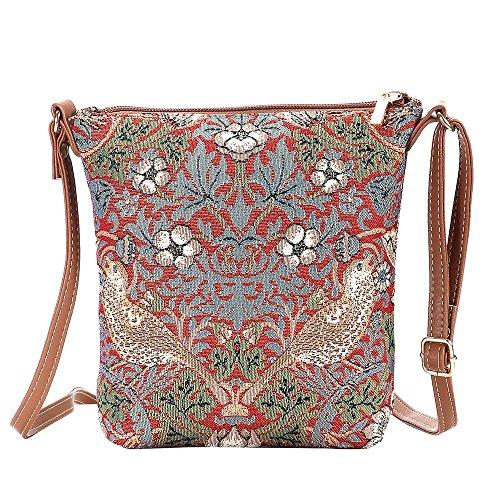 Thief Signare Red Satchel Lightweight Body Strawberry Cross Tapestry Bag New Sling Women vqxFHWAw