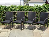 Patio Resin Outdoor Garden Deck Wicker Arm Chair. Black Color (Set of 4)