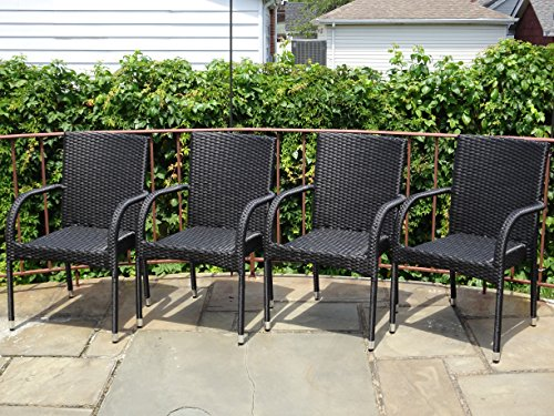 Patio Resin Outdoor Garden Deck Wicker Arm Chair. Black Color (Set of 4) - 4 Rattan Arm Chairs