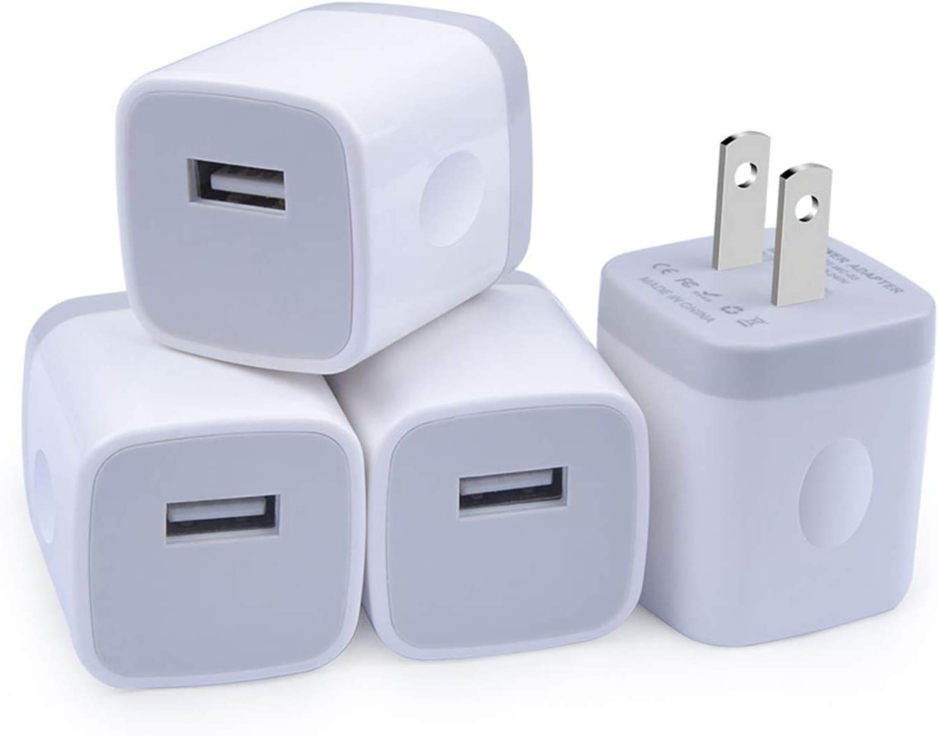 Charger Block, Charger Box, GiGreen 5V 1A USB Wall Charger 4 Pack Single Port USB Cube Plug Adapter Compatible iPhone 11/XS/X/8/7/6, Samsung S20+/S10/S9/S8/A20/A70/A80/A10e/Note 10, LG G8, Pixel, Moto