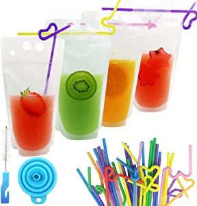 MIUINCY 100Pcs Drink Pouches with Straw Stand-up Juice Pouches Bags with 100 Drink Straws, Reclosable Zipper Smoothie Bags for Cold & Hot Drinks with 1 Silicone Funnel & 1 Brush