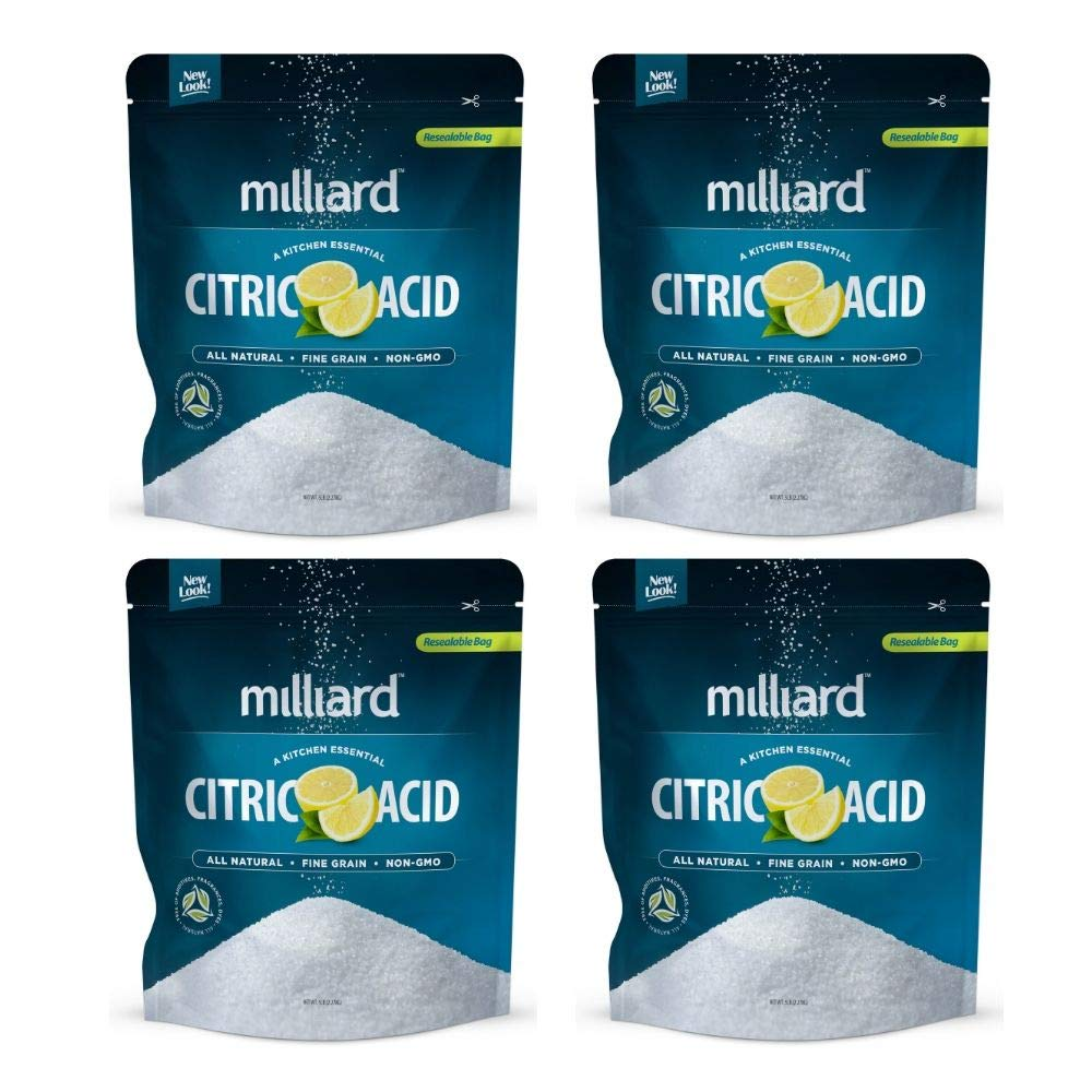 Citric Acid 5 Pound - 100% Pure Food Grade NON-GMO Project VERIFIED (5 Pound) (4 Pack) by Milliard (Image #1)