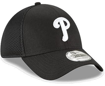 best service 1d2a5 72c66 New Era Authentic Philadelphia Phillies Black Neo 39THIRTY Flex Hat (S M)