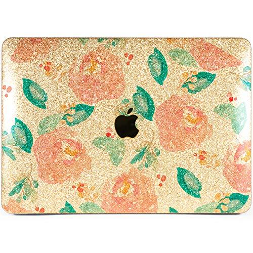 Lex Altern Glitter Case for Apple MacBook Air 13 inch Pro Mac Retina 15 12 11 2018 2017 2016 2015 Pastel Peony Lush Flowers Spring Pattern Design Touch Bar Laptop Cover Bling Rhinestone Women Gold