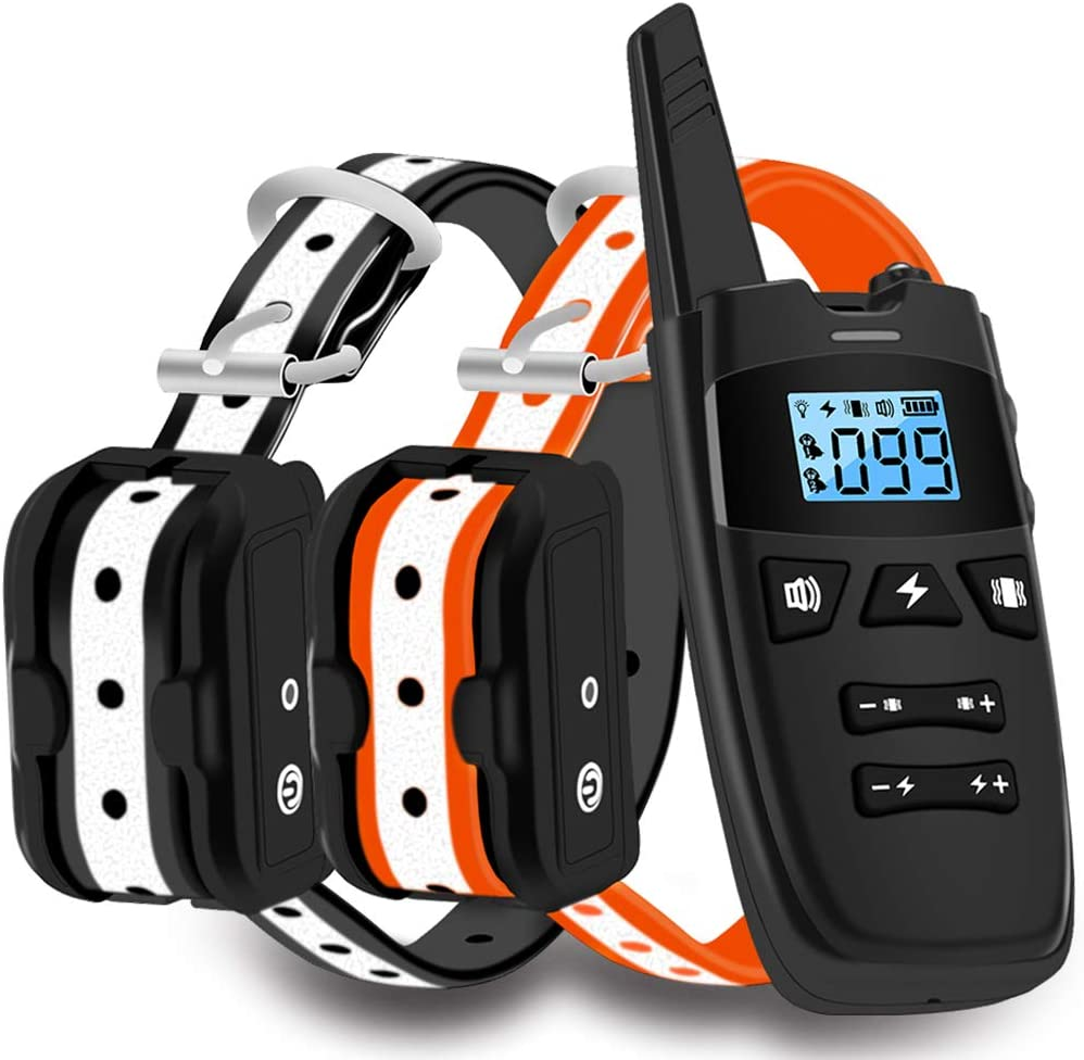 WDFZONE Dog Training Collar with Remote for 2 Dogs Waterproof Rechargeable Shock Collar with Remote for Small Medium Large Dogs for Two Dogs