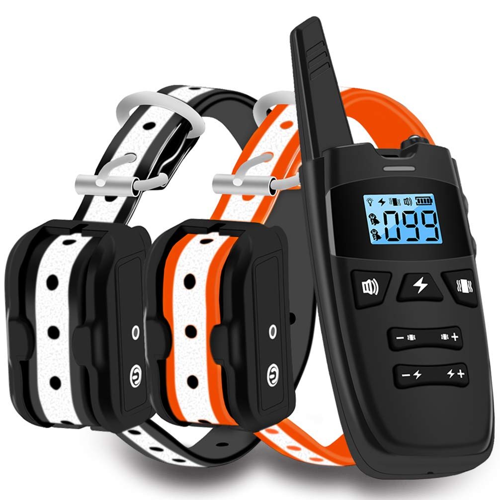WDFZONE Dog Training Collar with Remote for 2 Dogs Waterproof Rechargeable Shock Collar with Remote for Small Medium Large Dogs (for Two Dogs)