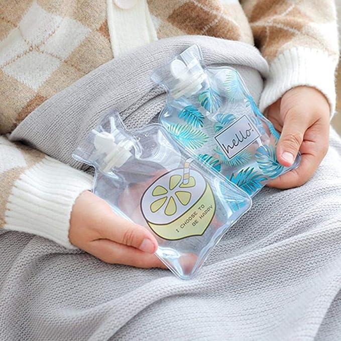Chnrong Gourde chaude /à la main en PVC Transparent Mini Bouillotte Portable pour les /étudiants enfants femme fleur
