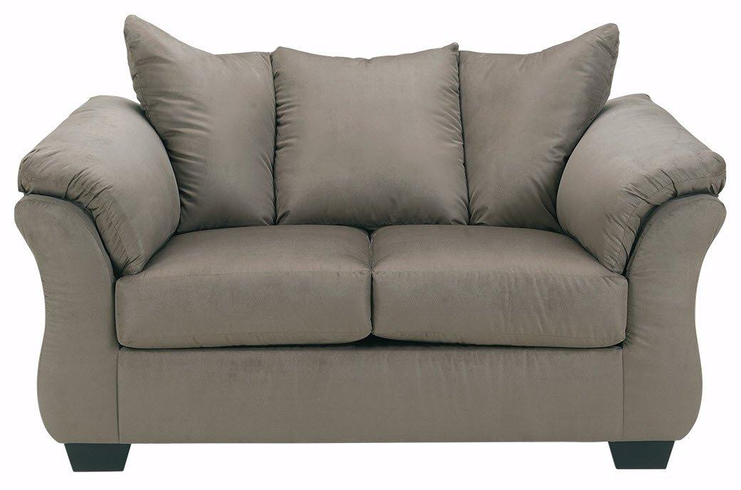 Ashley Furniture Signature Design - Darcy Love Seat - Contemporary Style Microfiber Couch - Cobblestone
