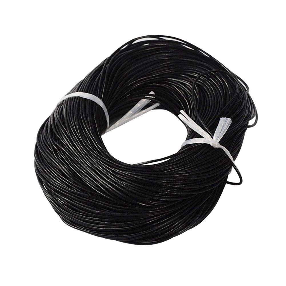 NBEADS 100m cavo in pelle di vacchetta nera con cordino in cuoio cavo da 1, 5 mm per gioielli fai da te WL-H002-3