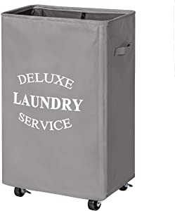 Chrislley 90L Rolling Laundry Hamper with Wheels Large Basket for Laundry Collapsible Clothes Hamper on Wheels (Grey)