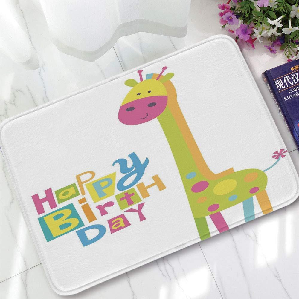 YOLIYANA Bath Mat,Birthday Decorations for Kids,for Dining Room Bathroom Office,15.75''x23.62'',Children Kidergarten Style Party Green Giraffe