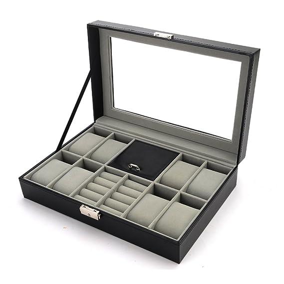 DoubleBlack Caja Para 8 Relojes Porta Joyería y Gemelos: Amazon.es: Relojes
