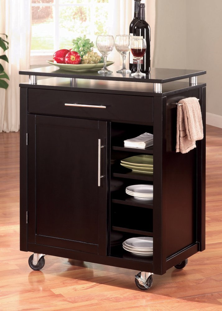 Amazon.com: Coaster Home Furnishings 910012 Transitional Kitchen Cart,  Black: Kitchen U0026 Dining