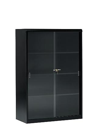 Tennsco 352gl Heavy Gauge Steel Executive Bookcase With Glass Doors