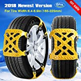 [2018 NEWEST VERSION] Snow Chain Snow Tire Chains for Truck/SUV Truck tire chains Tensioner Adjustable Snow Chains Tighteners Car Anti-Slip Tire Chains for Cars Tire Width with 6.4-10.4''/Set of 6