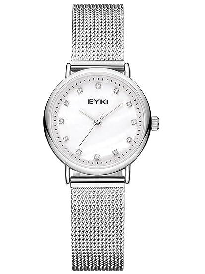 Alienwork Reloj Mujer Relojes Acero Inoxidable Plata Analógicos Cuarzo Blanco Impermeable Strass Elegante: Amazon.es: Relojes