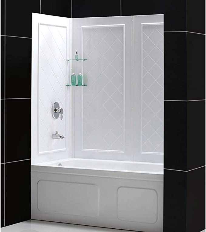 Dreamline Qwall Tub 56 60 In W X 28 32 In D X 60 In H Acrylic Backwall Kit In White Shbw 1360603 01 Shower Wall Surrounds