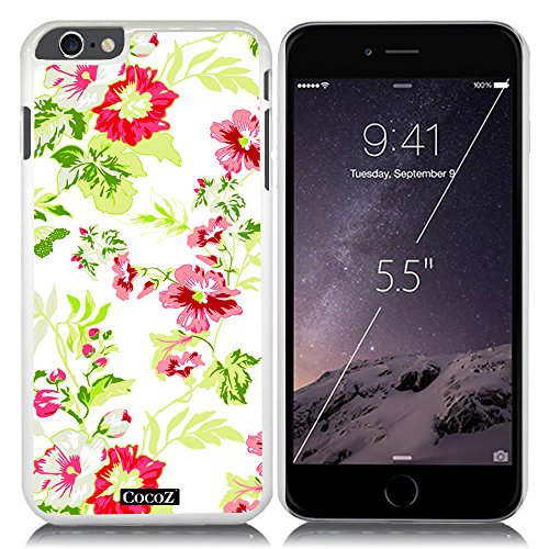 New Apple iPhone 6 Plus 5.5-inch CocoZ® Case Beautiful Hawaiian Flowers designs PC for Apple iPhone 6 Plus 5.5-inch Release on 2014 (White PC Hawaiian Flowers 4)