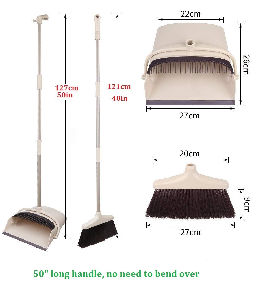 COMFORTABLEPLUS Broom and Dustpan Set Self-Cleaning Broom Bristles with Dust Pan,4FT (50inch) Long Handle Combo Set for Office and Home Standing Upright Sweep no Need to Bend Over by Comfortableplus (Image #1)