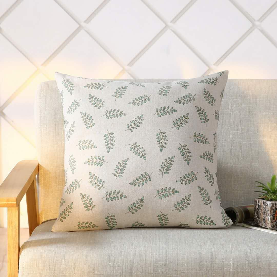 Yayiday Cotton Linen Burlap Throw Pillow Cover Square 18 X 18 Botanic Printed Home Decor For