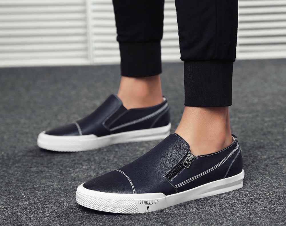 GLSHI Männer Casual Leder Loafer 2018 Mode Seitlichem Reißverschluss Reißverschluss Reißverschluss Skateboard Schuhe Leichte Trainer bd7bb0