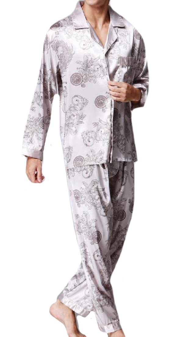 Sheng Xi Men Wedding Fall Winter Shirt/Pants Homewear Sleepwear Set Grey XL
