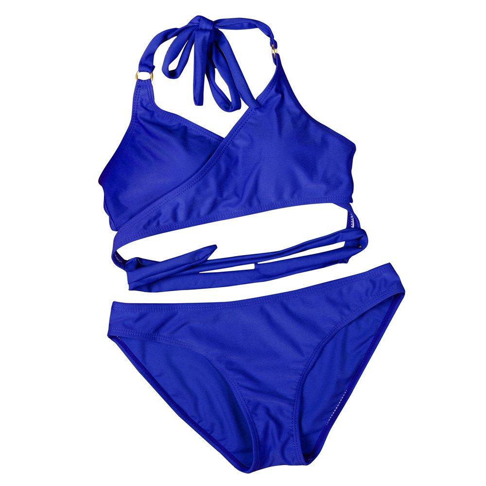 PERFURM Women Sexy Bikini Set Push-Up Padded Swimwear Swimsuit Bathing Bandage Beachwear Valentine's Day Present Gift Blue