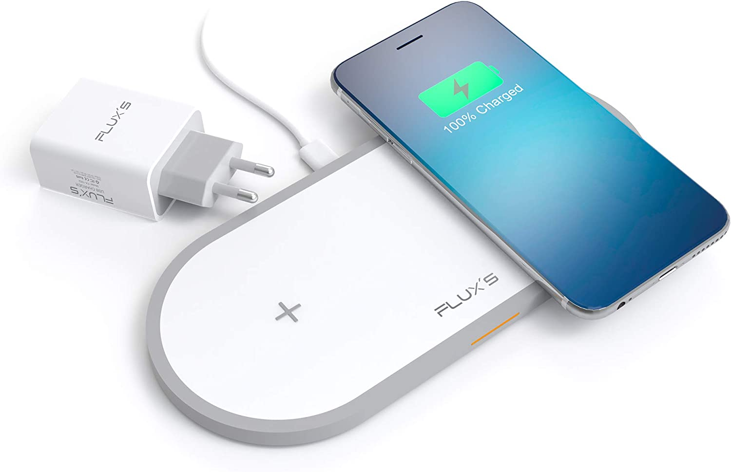 FLUX'S Cargador Inalambrico Doble, Carga Rapida Wireless Dual por Inducción 5W / 7.5 W / 10 W, Qi Fast Charger, Incluye Adaptador de Corriente, para iPhone11/11Pro/XR/Xs Max/X/8/Airpods 2 Galaxy