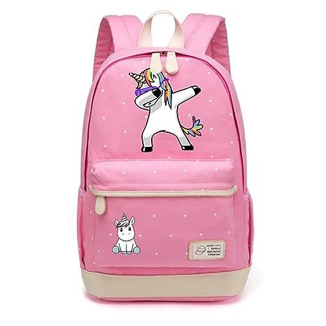 Amazon.com | Cute Unicorn Tap Cartoon Canvas Bag Wave Point Backpack | Kids Backpacks