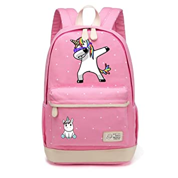 Amazon.com | Cute Unicorn Tap Cartoon Canvas Bag Wave Point Backpack | Kids Backpacks