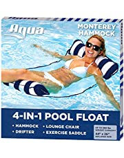 Aqua Leisure 4-in-1 Multi-Purpose Monterey Hammock (Saddle, Lounge Chair, Hammock, and Drifter), Supportive Mesh Lining, Easily Foldable, DuoLock System for Easy Inflation/Deflation, One Size, Navy
