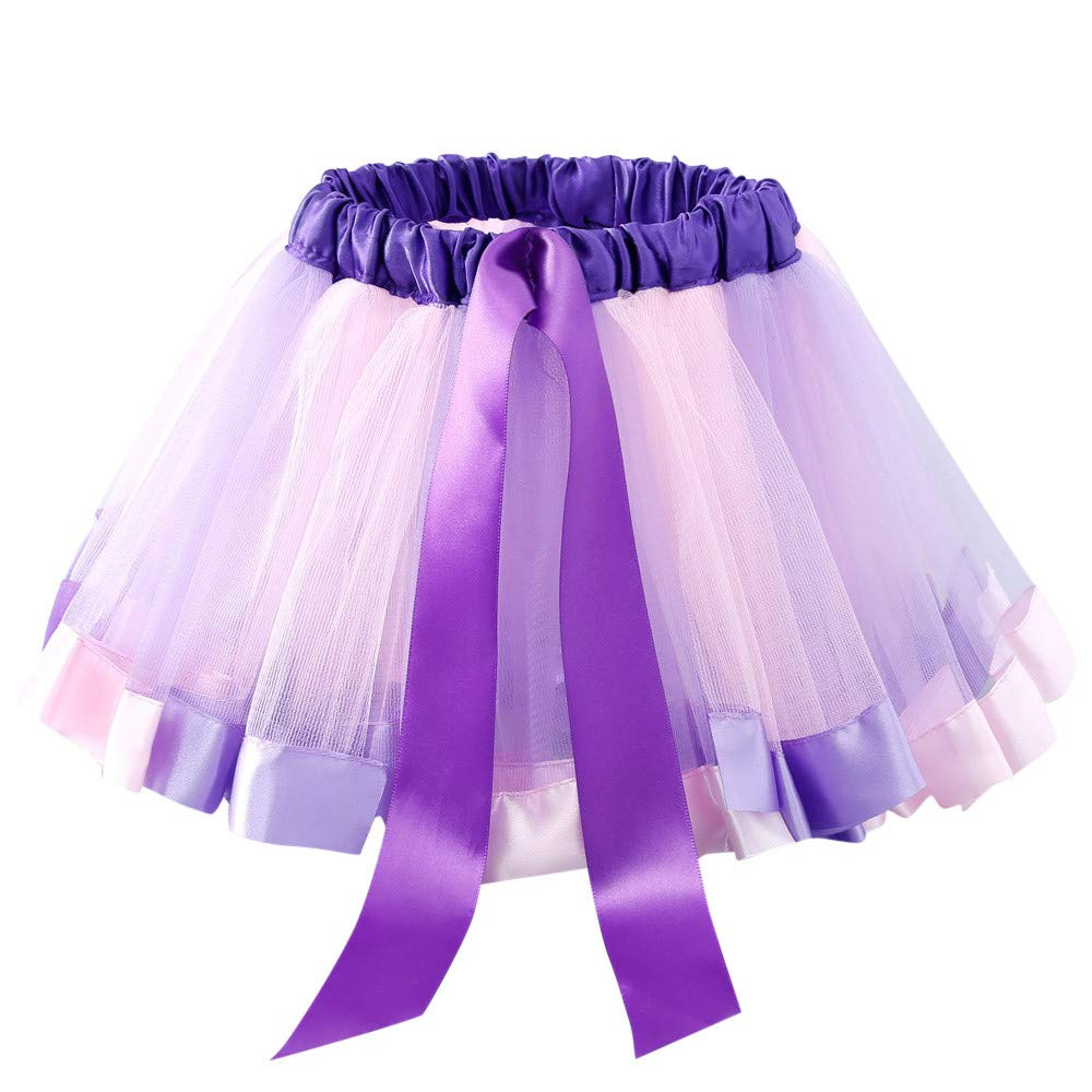 Muium Kids Baby Girls Rainbow Bowknot Princess Dress Dance Skirts Fancy Party Costume Clothes for 2-6 Years Old