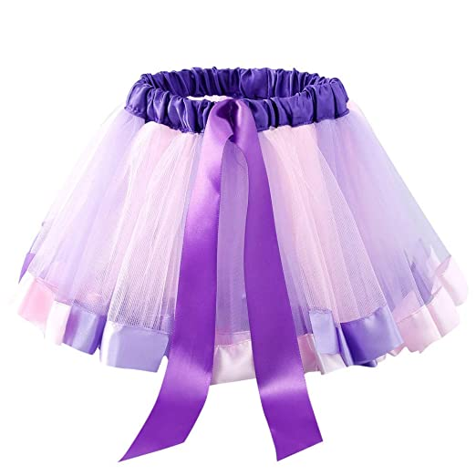 07c22f13231d Amazon.com  Kids Girls Petticoat Rainbow Pettiskirt Bowknot Skirt ...